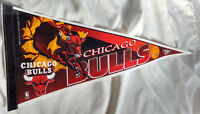 Chicago Bulls Felt Pennant Banner Flaming Bull NBA Basketball VTG