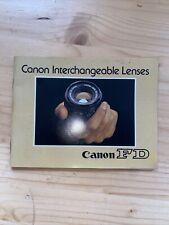 Vtg Canon Fd Interchangeable Lenses for 35mm camera Booklet book Catalog - Old