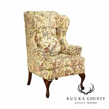 Vintage Mahogany Queen Anne Crewelwork Wing Chair