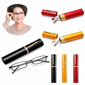 +1.0 1.5 2.0 2.5 3.0 3.5 4.0 Reading Glasses Women Men Mini Metal Pen Tube Case