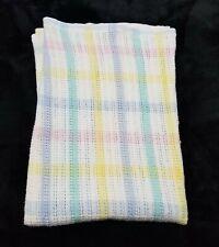 New listing Vintage Beacon Pastel Plaid Baby Blanket 100% Cotton Wpl 1675