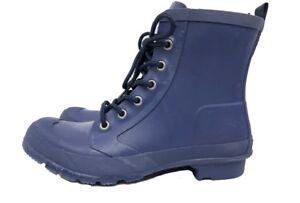 Ralph Lauren Mikenna Blue Lace-up Rain Boot Galoshes 6M Retail $69
