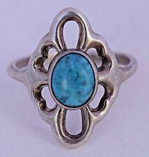 Turquoise Sterling Silver Sandcast Ring Navajo Native American Vintage Unique