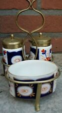 Antique Vtg Mustard Porcelain Cruet Set Imari Style cobalt blue red and white