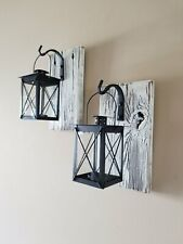 """Set of Two 10"""" Rustic Wall Mounted Lantern Sconces with 7"""" Candle Lanterns"""