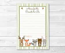 Woodland Forest Animals Printable Baby Shower Mommy Advice Cards