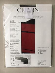 Cervin Bicolore Stockings, Black Leg, Red Welt. Size 2