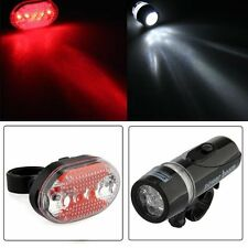 Bike Bicycle Waterproof White 5 LED Head Lamp Light + Red Rear Flashlight ch9