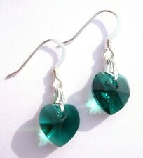 Emerald Green Swarovski Elements Crystal 925 Sterling Silver 10mm Heart Earrings