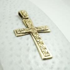 Solid 14K Yellow Gold Men's Diamond Cut Cross/Crucifix Pendant, 4.8 grams