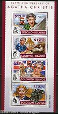 SOLOMON ISLANDS 125th BIRTH ANNIVERSARIY OF AGATHA CHRISTIE SHEET MINT NH