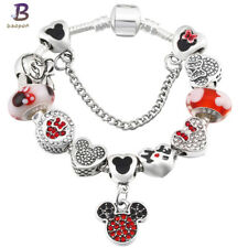 MINNIE and MICKEY MOUSE CHARM BRACELET - RED/BLACK/SILVER  21cm