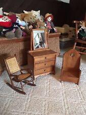 "Doll Furniture Set of 3 Dresser, Cane Rocker, Chair for 16""-18"" Dolls Handmade"