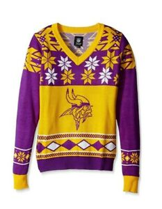 NFL Minnesota Vikings Womens Christmas Party Ugly V Neck Sweater Size Small