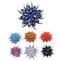 2X(Crystal Brooch Pins For Women Top Quality Flower Broches Jewelry Fashion4U8)