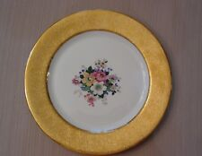 8 Superior China Bavaria Plates 22 Carat gold rim Floral Ctr Embossed design