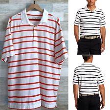 Nike Golf UV Ultra Bold Stripe Polo Shirt White Pink Dri Fit Stretch Mens XL