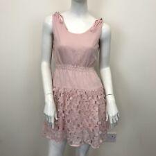 Light Pink Sleeveless Shirred Waist Ruffle Short Full Skirt Tea Dress UK Size 8
