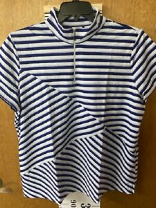 Chicos Zenergy Golf Stripe Short Sleeve Zip Moc Size 4