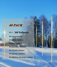 Safety Driveway Markers Orange Snow Stakes 5/16InchX4' Reflective Poles,40 Pack