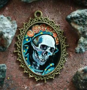 Hand Painted Pendant Metal La Santa Muerte Necklace Day Of The Dead Mexican Art