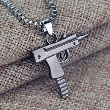 Fashion Machine Gun Mens Gold Plated Silver Pendant Chain Hip Hop Punk Necklace