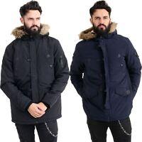 New Mens Heavy Weight Fur Hood Parka Padded Winter Coat Jacket Size S-XXL