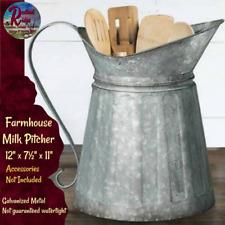 Rustic Galvanized Metal Farmhouse Milk Pitcher Vintage Look  Utensil Holder