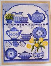 Blue China on a Kitchen Dresser - Semco cross-stitch kit to complete