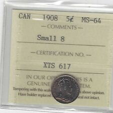 1908 Small Date, ICCS Graded Canadian,  5 Cent, **MS-64**