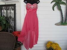 Bee Darlin Pink Chiffon Prom Dress Crystal Look Trim sz 1 Nwt