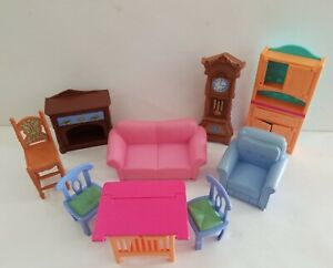 Vintage Fisher Price Loving Family Happy Together Dollhouse Furniture 9 Pieces