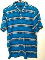 Oakley Men's Size Large Blue Gray Striped Short Sleeve Polo Shirt