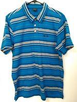 Men's Size Large Oakley Blue Gray Striped Short Sleeve Polo Shirt
