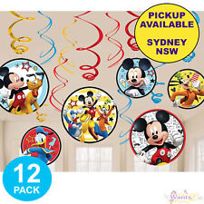 MICKEY MOUSE PARTY SUPPLIES 12 HANGING SWIRL BIRTHDAY DECORATIONS