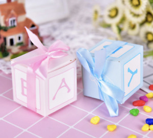 12 Baby Shower Favour Boxes Box Boy Girl Gender Reveal New Baby Party Cubes