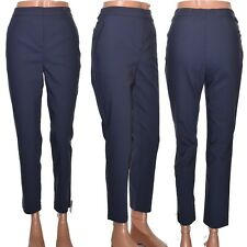Topshop Navy Blue Cigarette Trousers High Waist Cropped Length Size 10