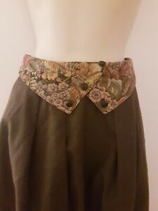 True Vintage 70s does 40s Edwardian Style Green Floral Wool Midi Skirt 12 Lined