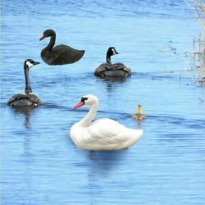 Life Size White Swan Decoy Pond Decor Plastic Floating Garden Decor Bird N5M1