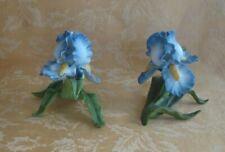 "Pair Lenox Garden Porcelain Sculptures ~ ""Iris"" Flowers 1989"
