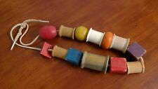Vintage Wood Beads Thread Spools String Baby Colorful Toy