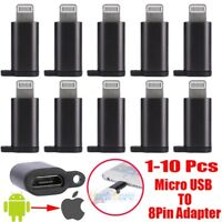 1-10x Micro USB to iPhone 8Pin Adapter Sync Quick Charging Connector Plug IOS