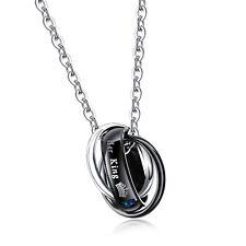 Edelstahl Halskette Her King Zirkon 3 Ringe Kreis Anhänger mit 50cm Kette Herren