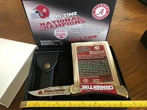 Buck Knife 110 Custom Limited Alabama Crimson Tide 15 X National Champs NIB USA