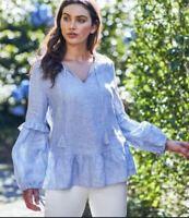 Target blue linen long sleeve ruffle hem blouse AS NEW 12 FREE POST