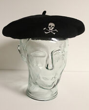 Rugby by Ralph Lauren Skull CrossBones Polo Beret Hat Cap Black Large Vintage