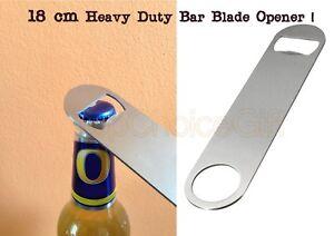 Flat bottle opener heavy duty 18 cm long stainless steel bar blade bottle opener