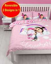 DESPICABLE ME MINIONS GIRLS DOUBLE DUVET QUILT COVER SET PINK UNICORN BEDROOM