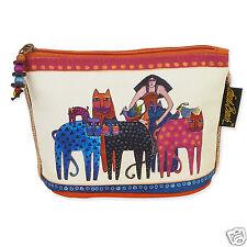 Laurel Burch Beige Brights Feline Cats And Friends Mini Cosmetic Zipper Case New