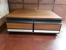 Vintage Wood Grain VHS Storage 24 VCR VHS Tape Holder Slide Plastic Drawers